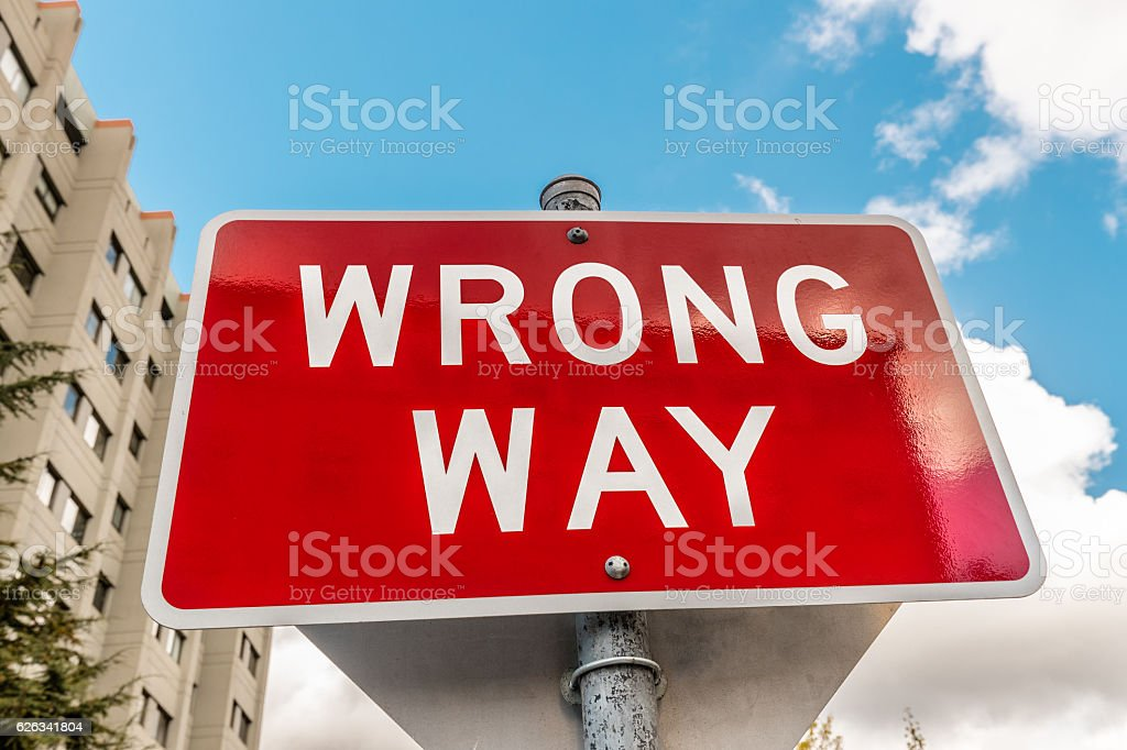 Wrong Way road sign in California, USA stock photo