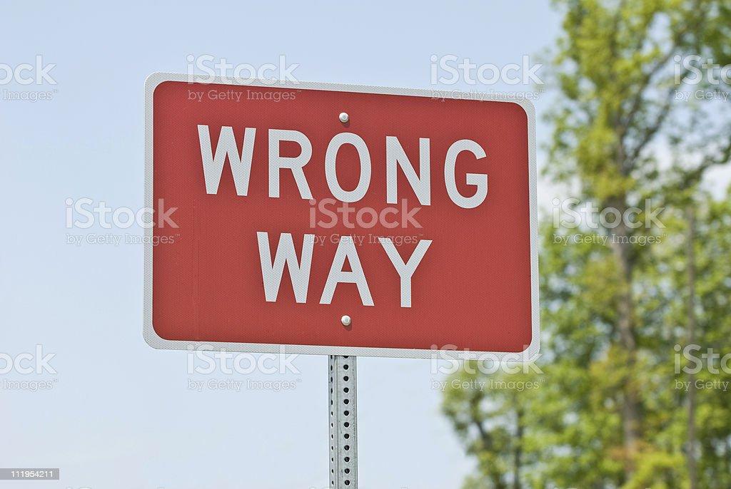 Wrong Way Sign Horizontal royalty-free stock photo
