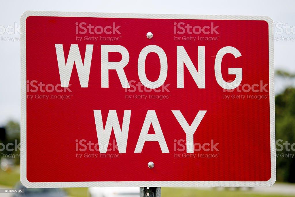 Wrong Way Warning Sign Close Up stock photo