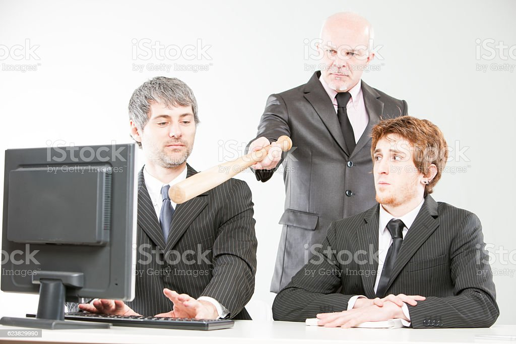 wrong ways of managing a teamwork stock photo