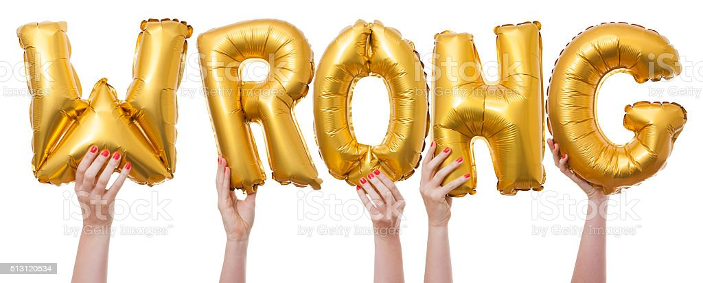 Wrong word made from gold balloons stock photo