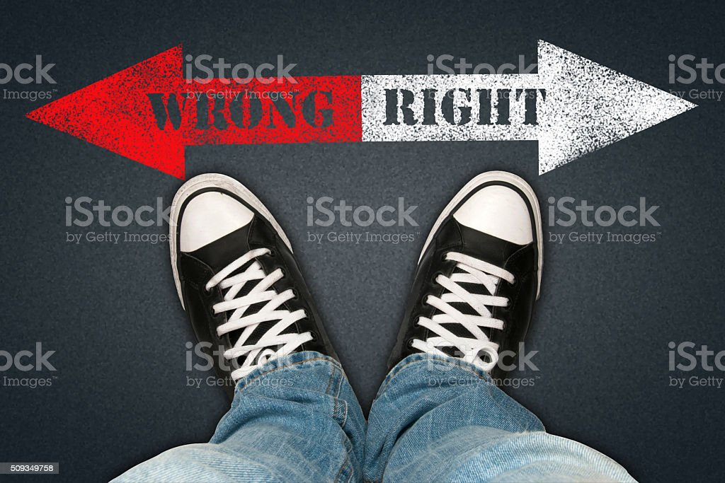 Wrong-Right stock photo