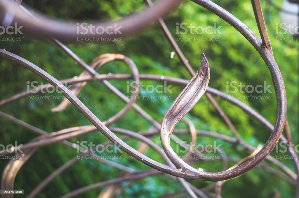 Wrought bronze grille stock photo