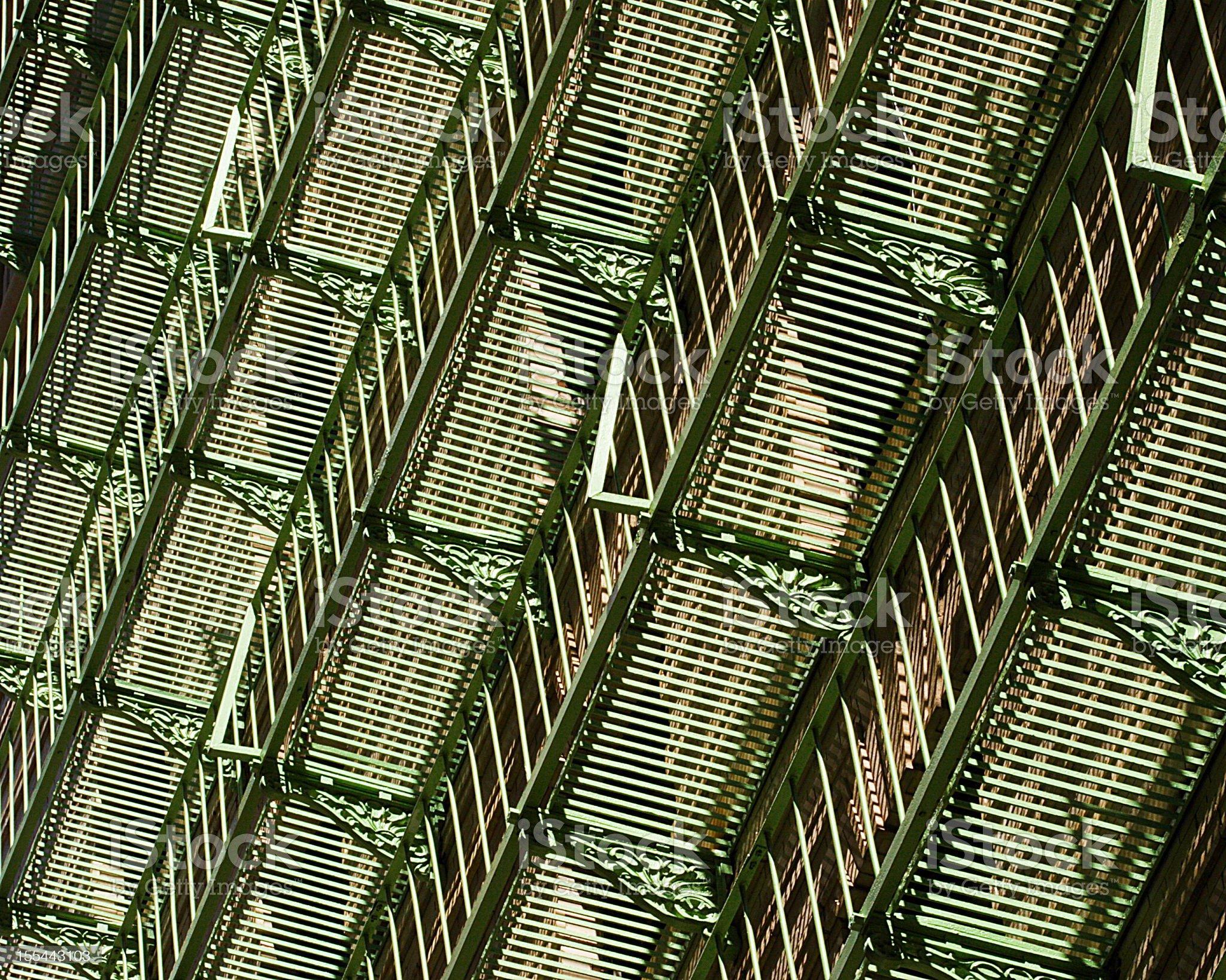 Wrought Iron Balcony Fire Escape Railing royalty-free stock photo