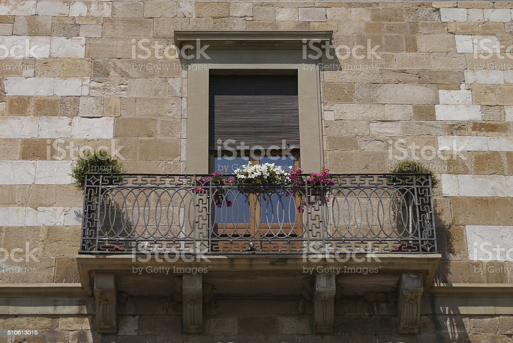 Wrought iron balcony in Pisa stock photo