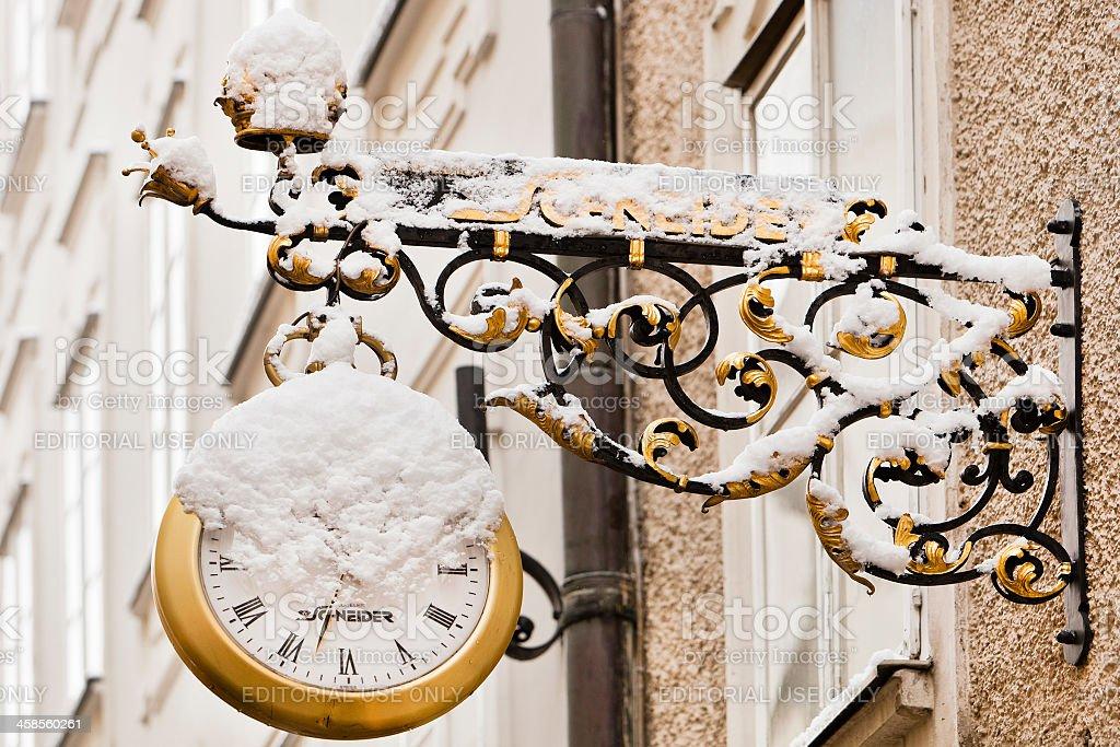 Wrought iron Clock stock photo