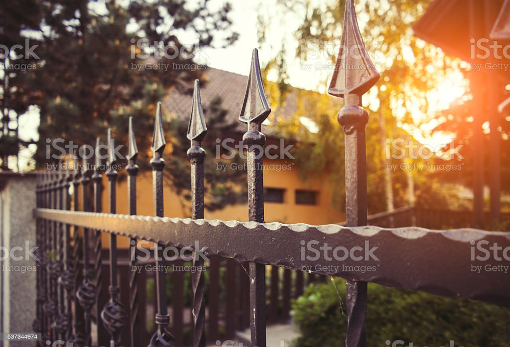 Wrought iron fence stock photo