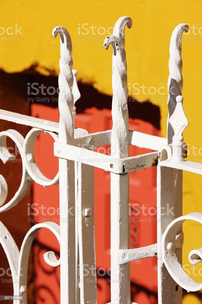 Wrought Iron Finial Fence Gate stock photo