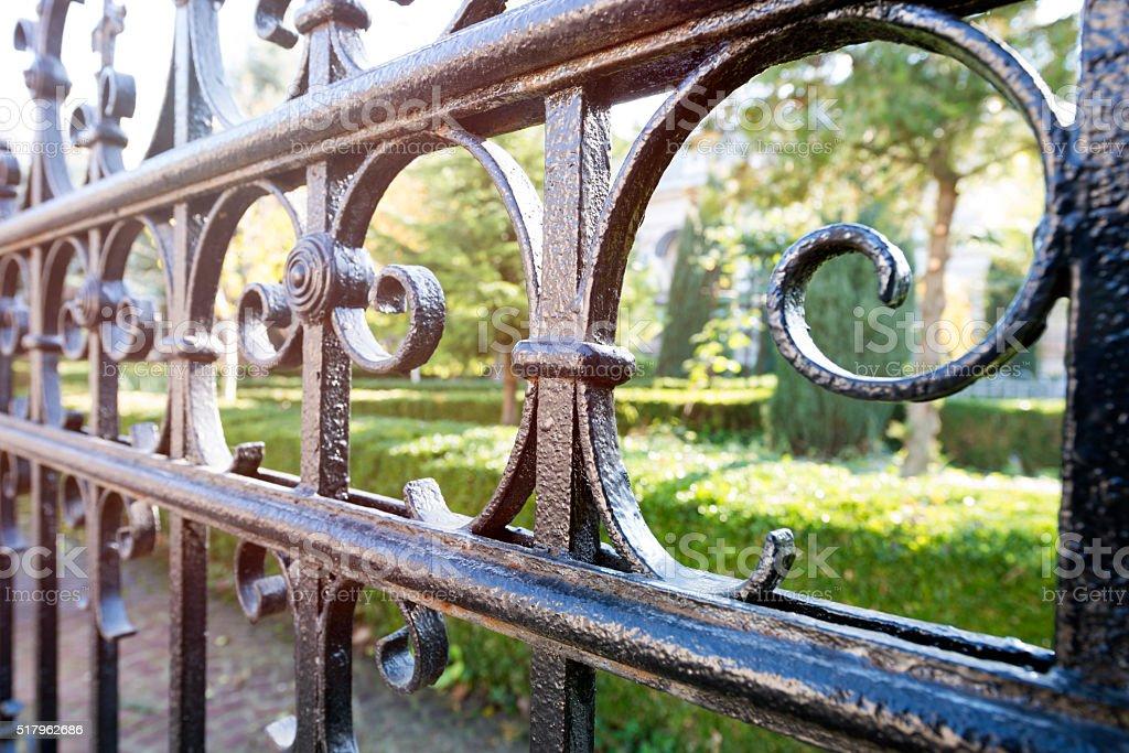 Wrought Iron Gate stock photo