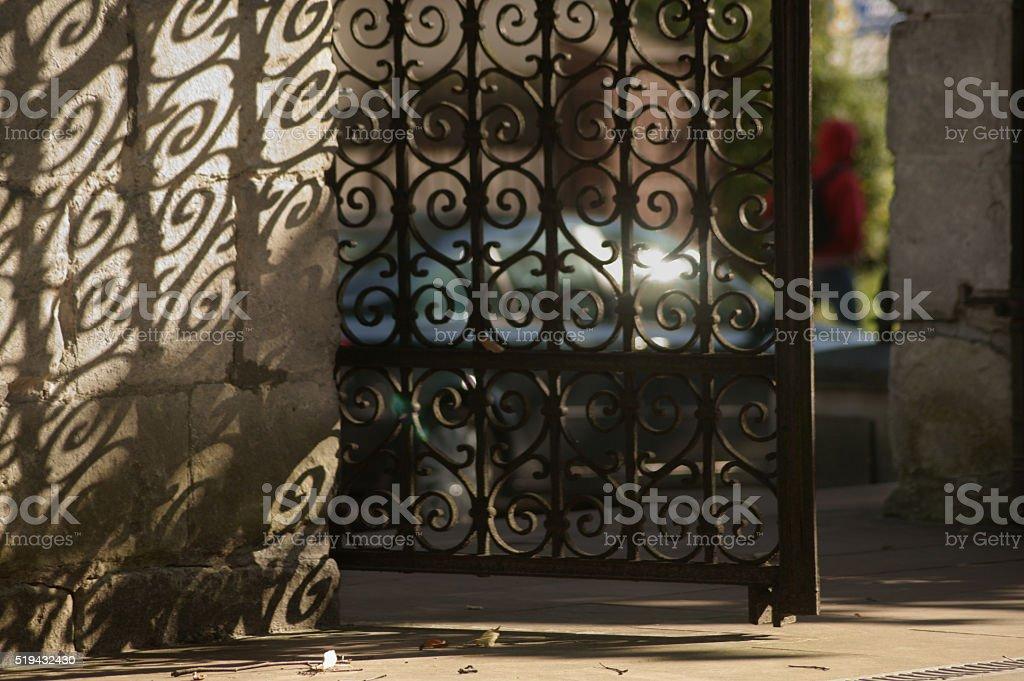 Wrought iron gates stock photo