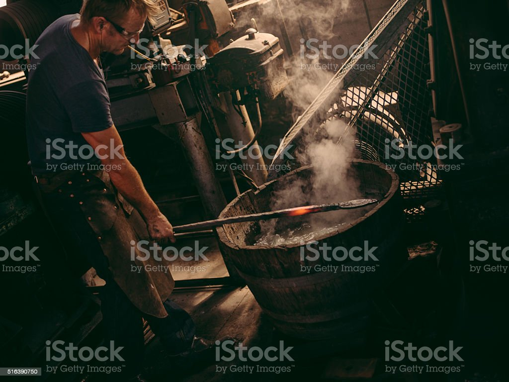Wrought iron manufacturing process stock photo