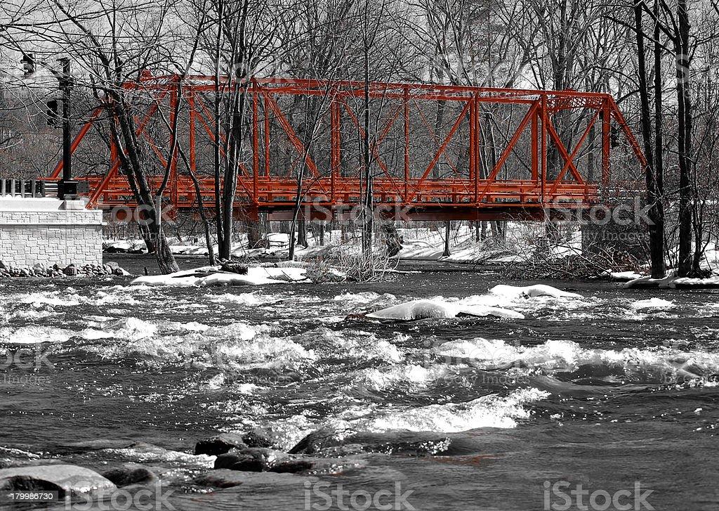 Wrought iron truss bridge, river view royalty-free stock photo