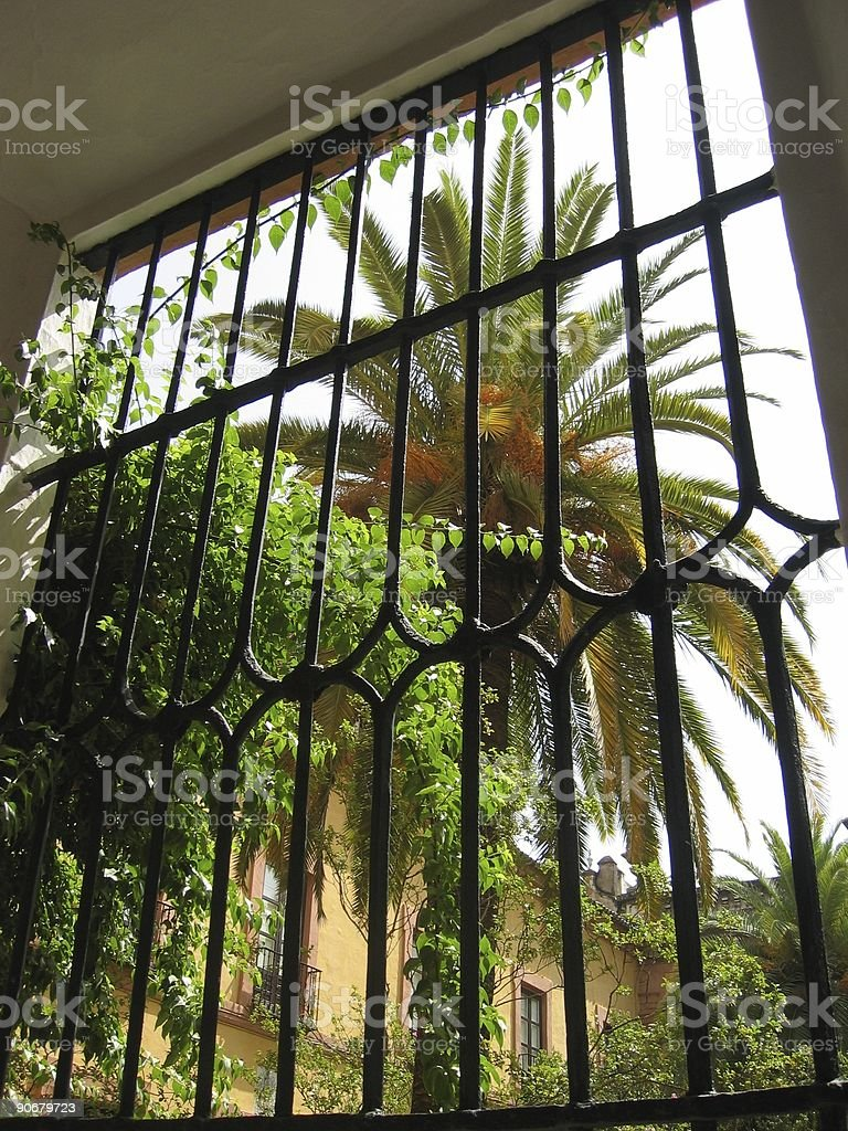 Wrought iron window stock photo