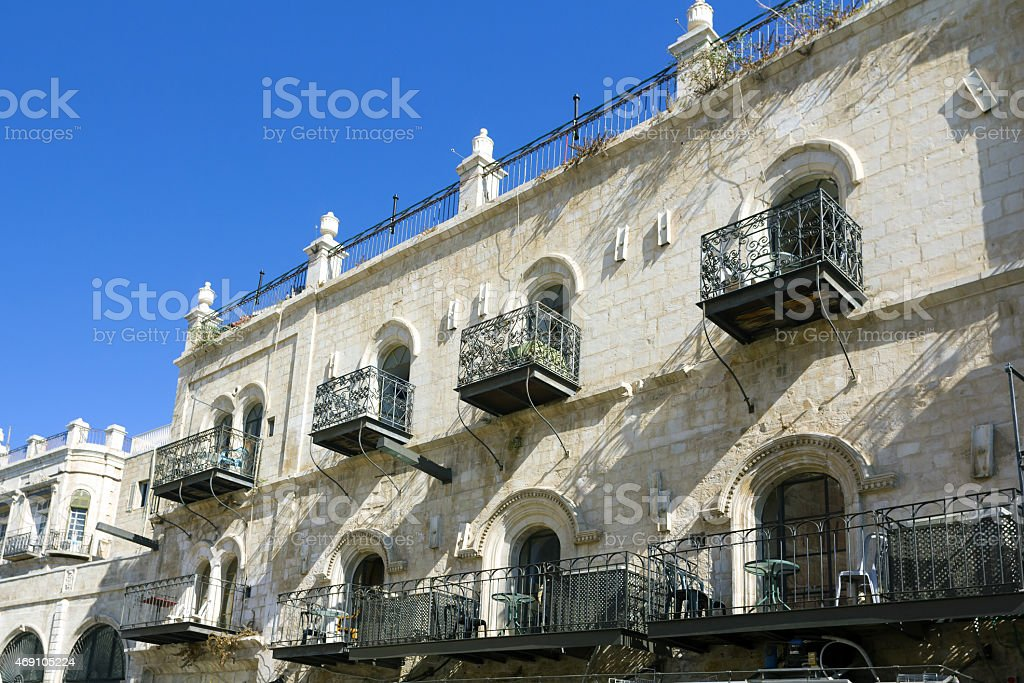 Wrought-iron balconies on the streets of Jerusalem royalty-free stock photo