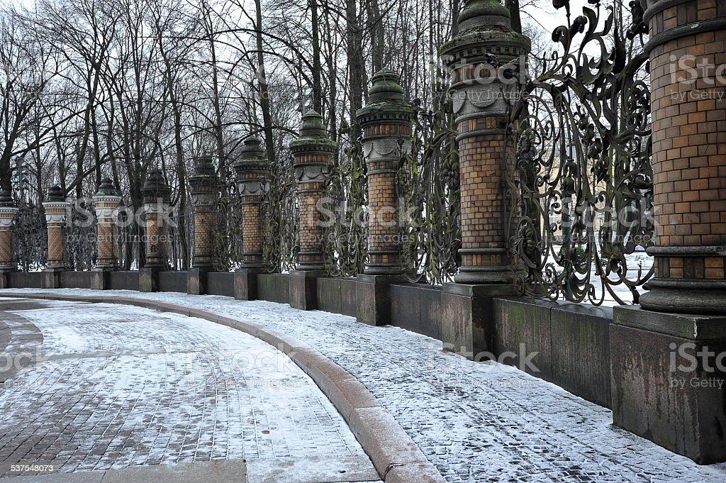 wrought-iron fencing of the Mikhailovsky garden, St. Petersburg, stock photo