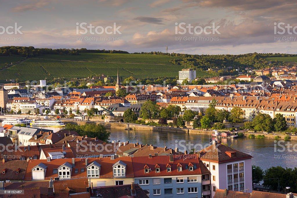 Wuerzburg City Panorama stock photo