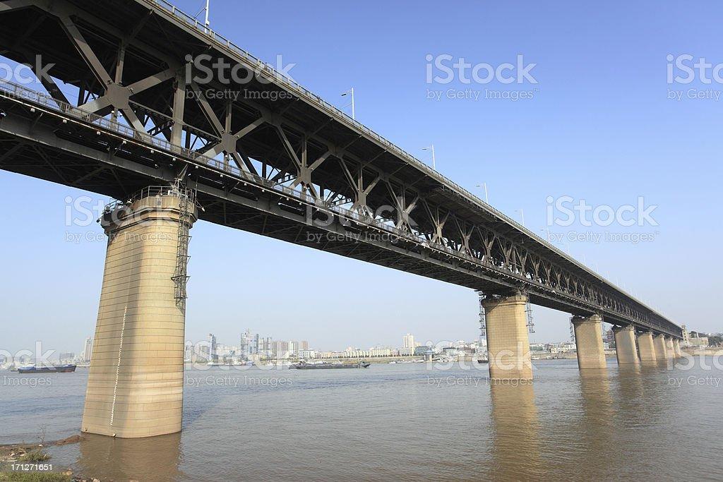 WuHanYangtze River Bridge royalty-free stock photo