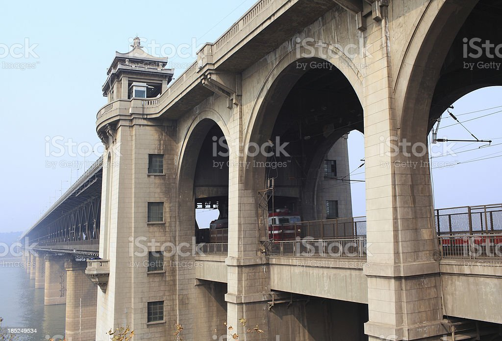WuHanYangtze River Bridge royalty-free stock photo