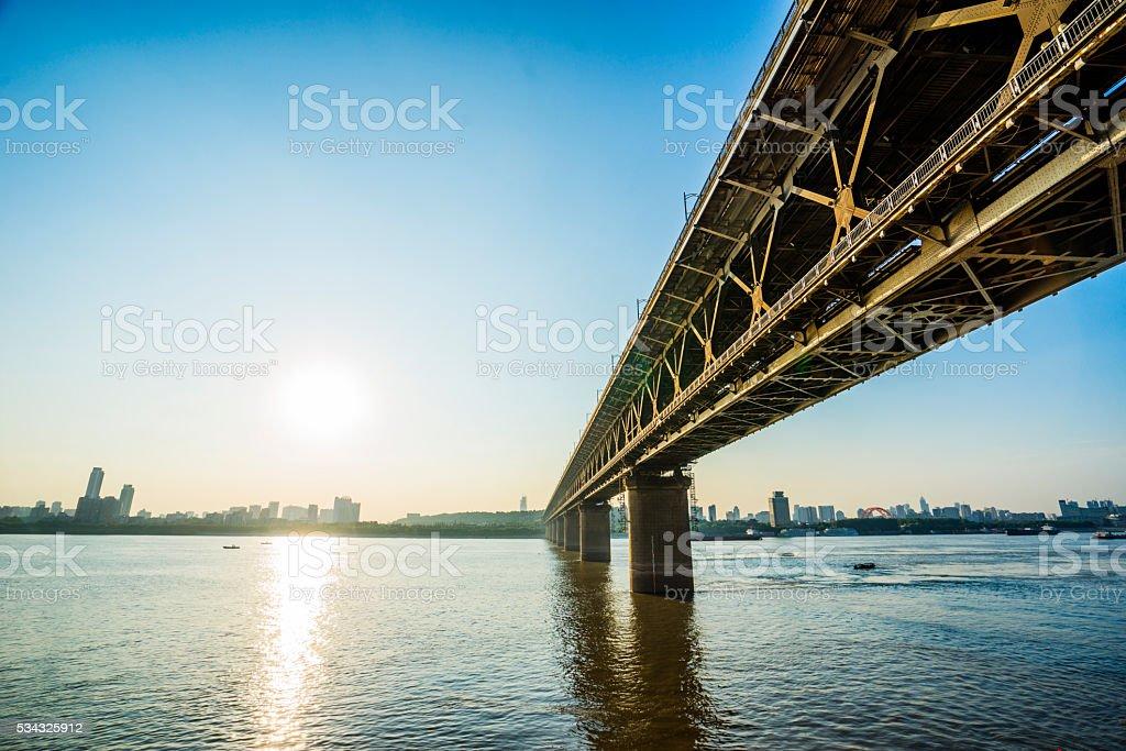 WuHanYangtze River Bridge stock photo