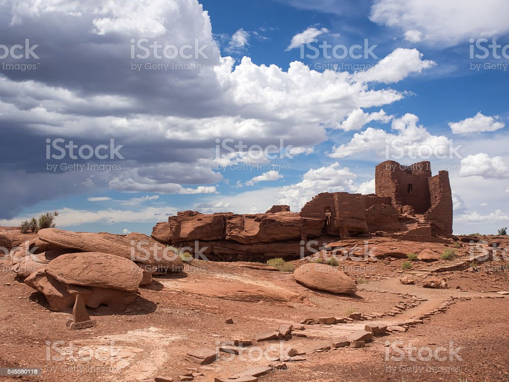Wukoki Ruins complex in Wupatki national monument, Arizona stock photo