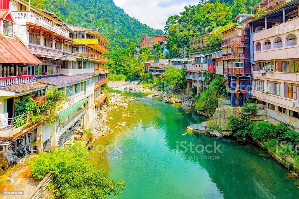 Wulai hot spring village stock photo