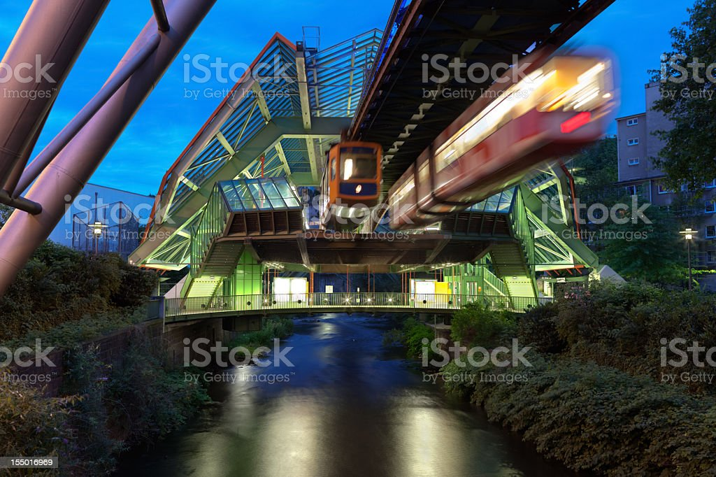 Wuppertal Suspension Railway in Germany lit up at night royalty-free stock photo