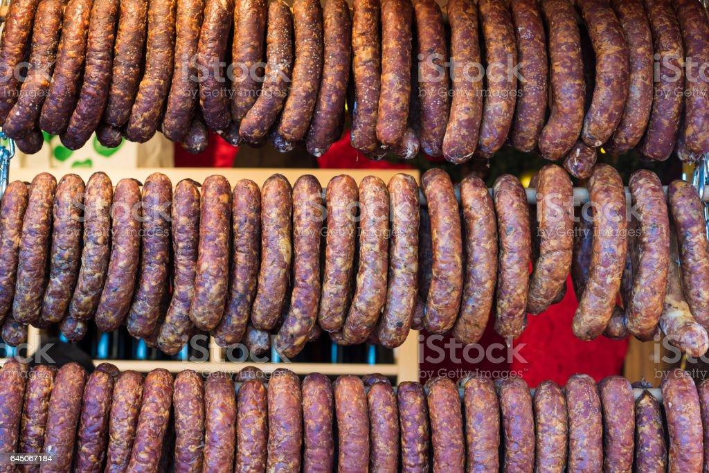 Wurst am Marktstand stock photo