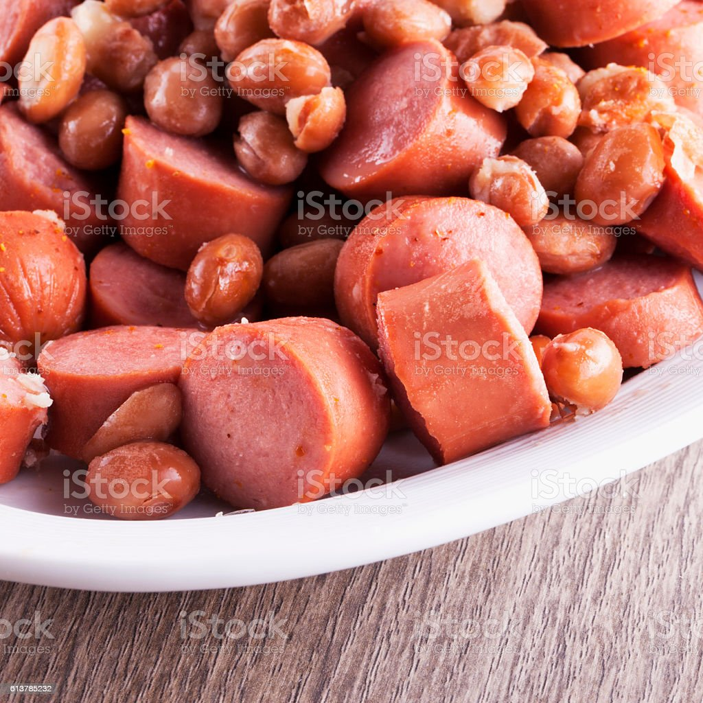 Wurstel and beans stock photo