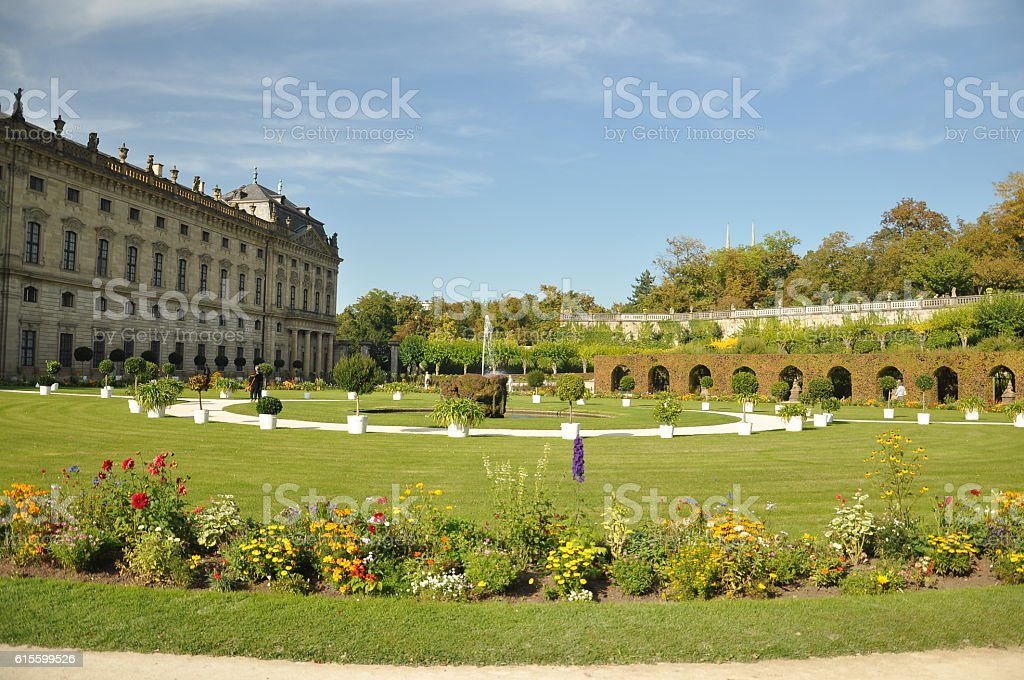 Wurzburg Residenz and colorful gardens, Germany 2013 ,SEPTEMBER stock photo