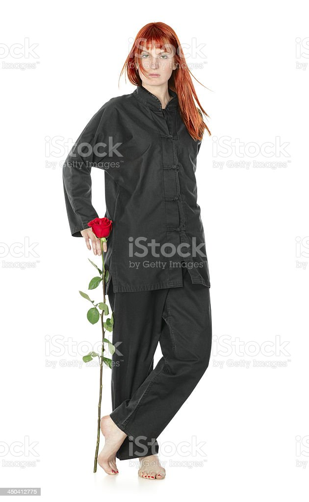Wushu Woman With Red Rose royalty-free stock photo