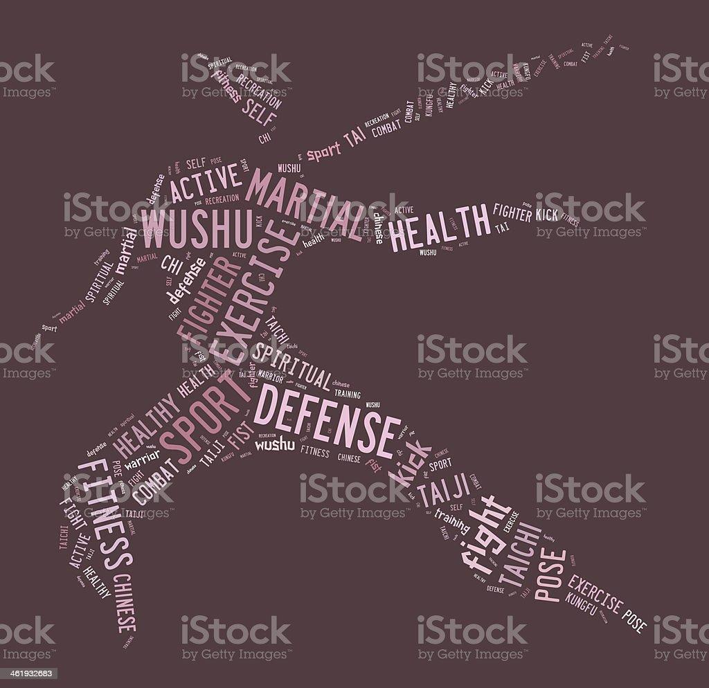 Wushu word cloud with pink wordings stock photo