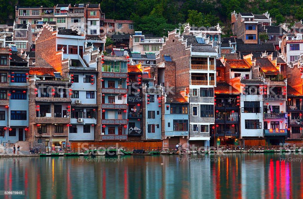 Wuyang river and Zhenyuan Ancient Town, China stock photo