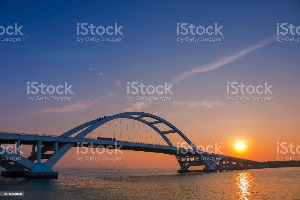 Wuyuan bridge at sunrise stock photo