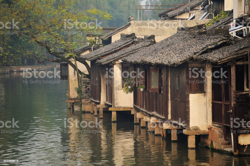 Wuzhen Ancient Water Town in early morning stock photo