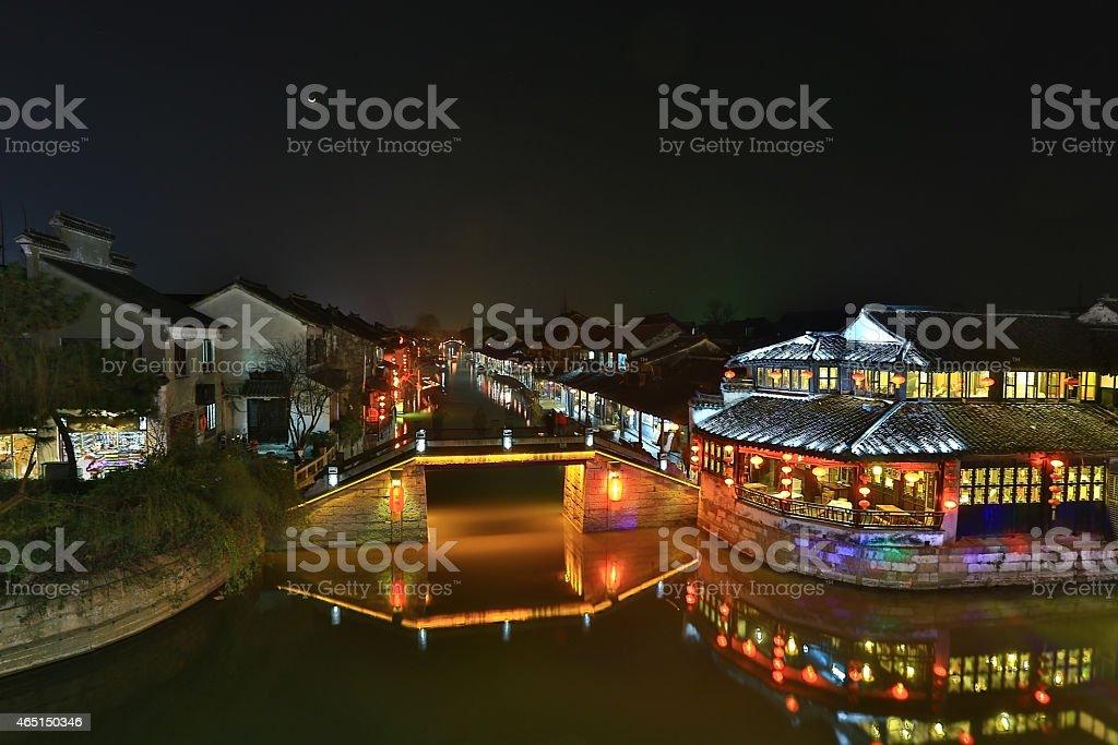 Wuzhen night stock photo