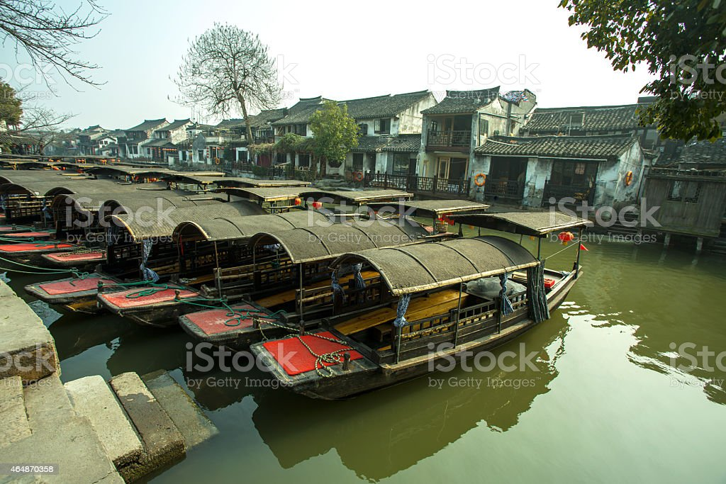Wuzhen ship stock photo