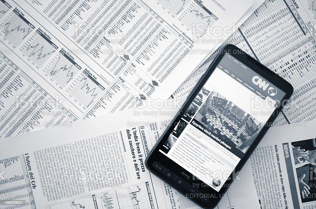 www.cnn.com on HTC smart phone stock photo
