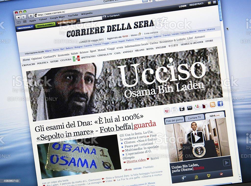 www.corriere.it announce the death of Osama Bin Laden stock photo