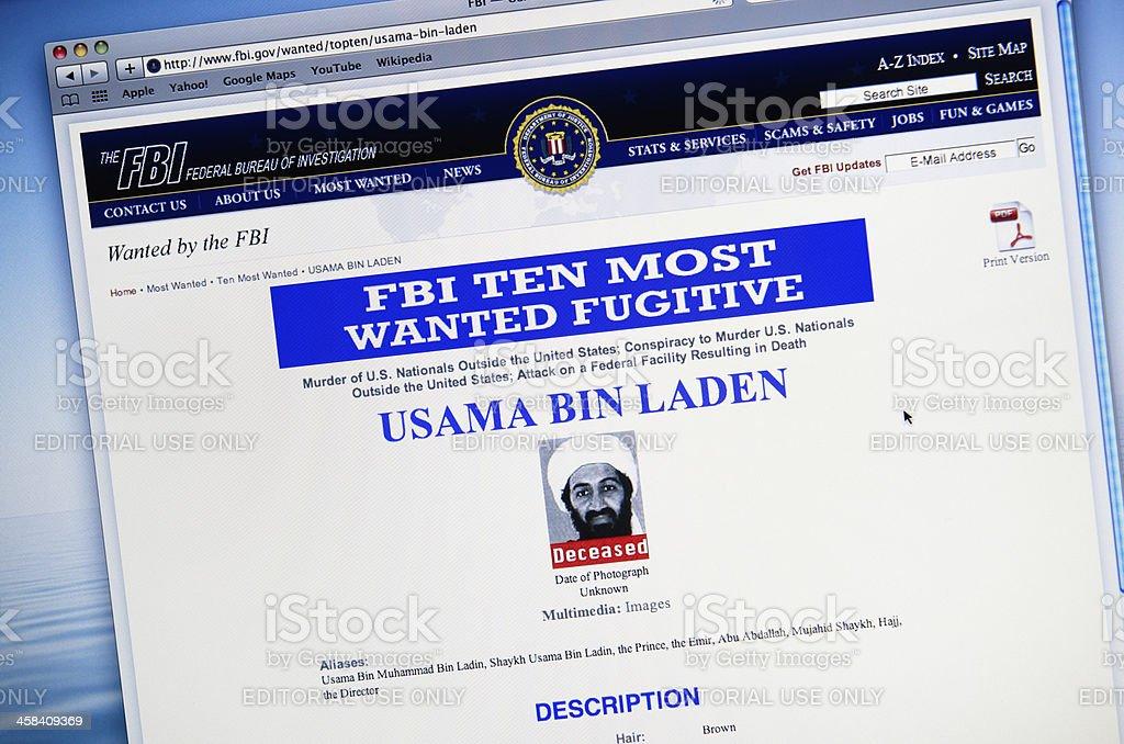 www.fbi.gov announce the death of Osama Bin Laden stock photo