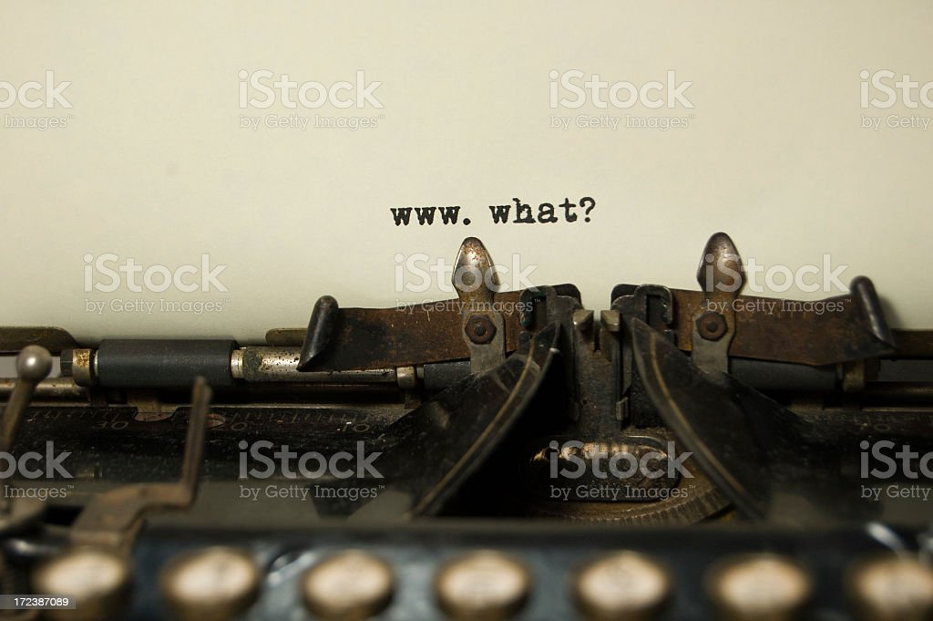 www.what? on antique typewriter royalty-free stock photo