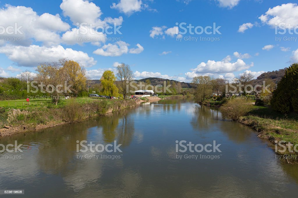Wye Valley the River Wye Monmouth Wales UK blue sky stock photo