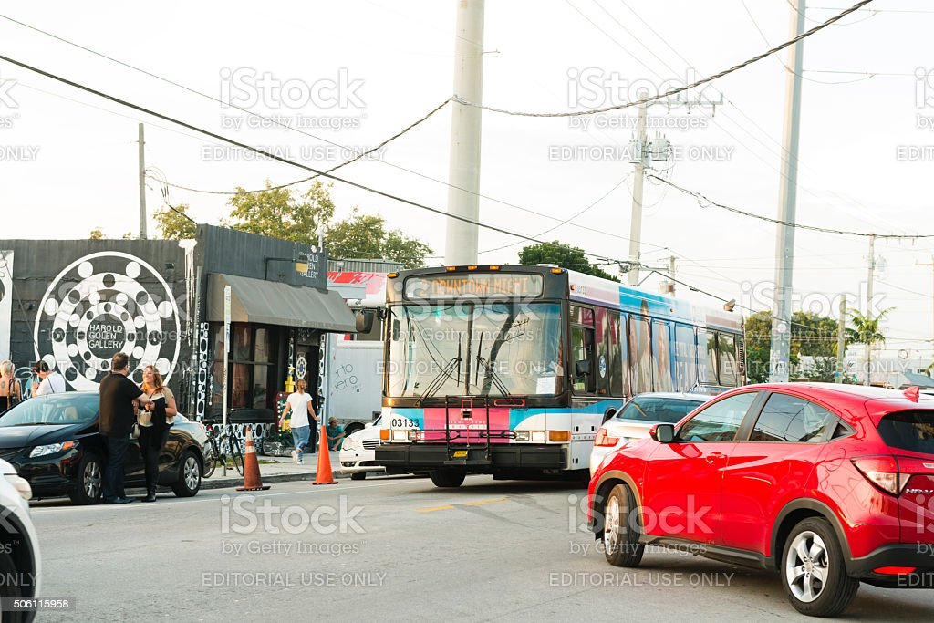 Wynwood Miami Traffic Congestion Cars and Bus on City Street stock photo