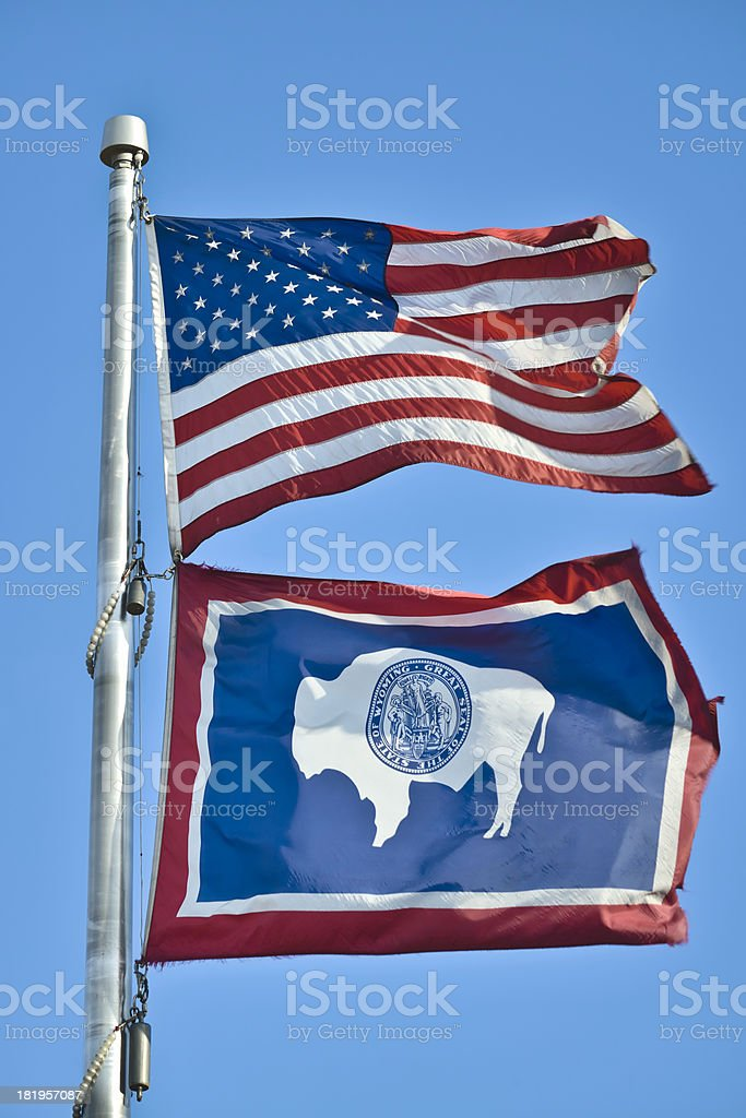 Wyoming and American Flag royalty-free stock photo