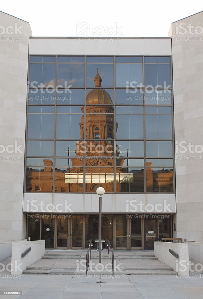 Wyoming Capitol Reflected in Office Building stock photo