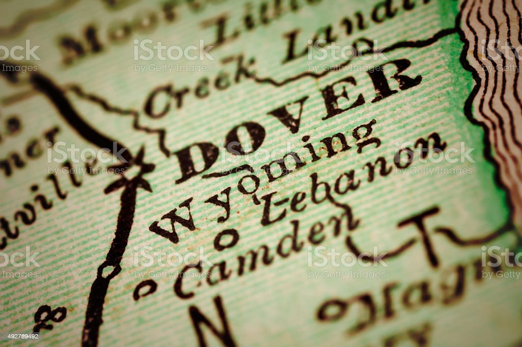 Wyoming, Delaware on an Antique map stock photo