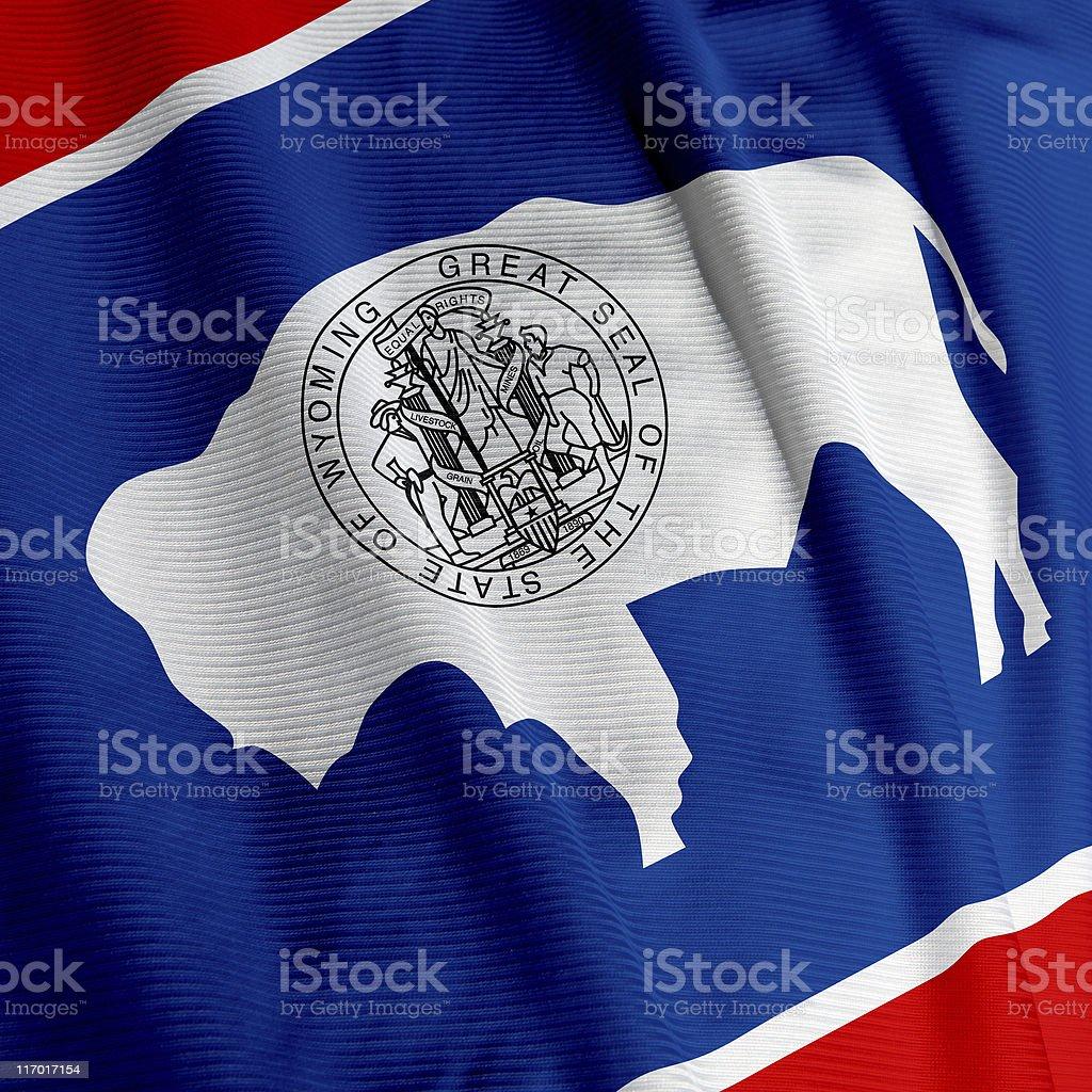 Wyoming Flag Closeup stock photo