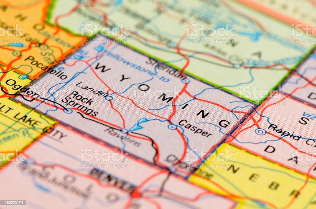 Wyoming map stock photo