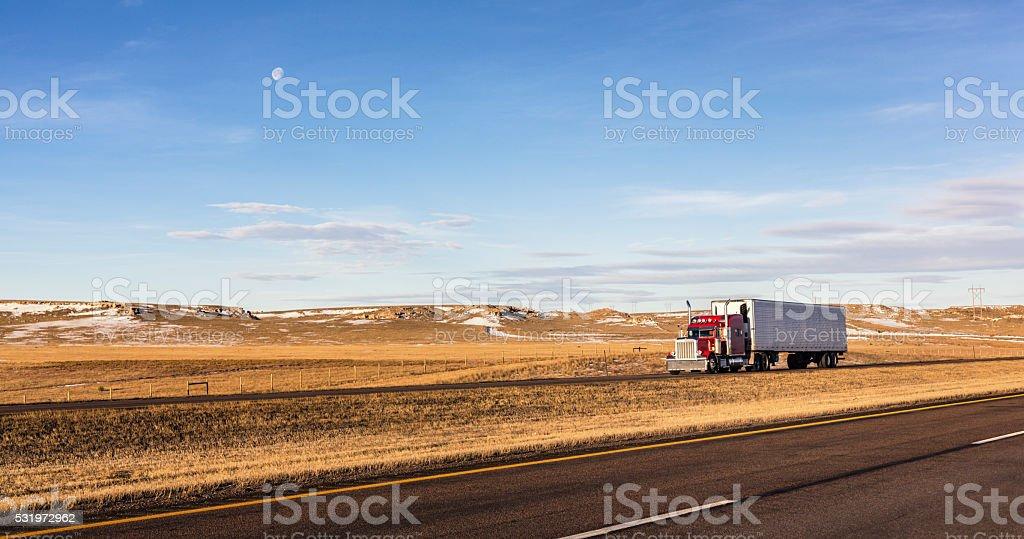 Wyoming Morning Moon Expressway Semi-Trailer Truck stock photo