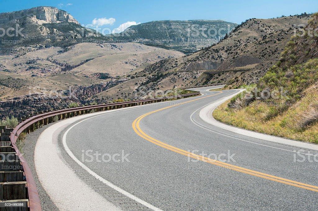 Wyoming Mountain Road stock photo
