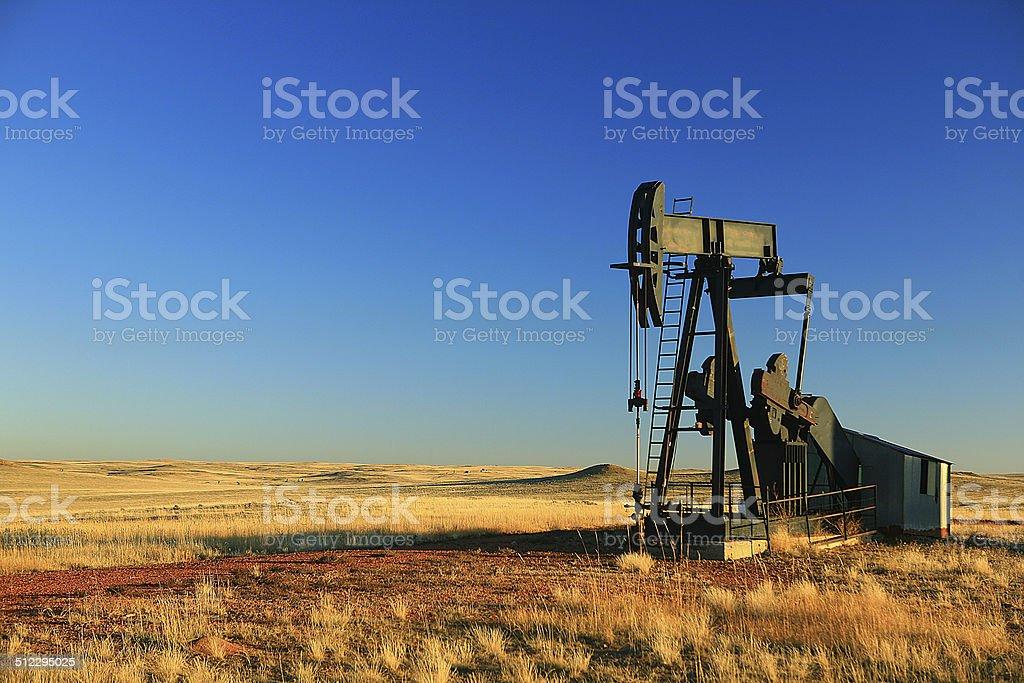Wyoming oil derrick stock photo